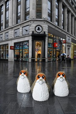 EDITORIAL USE ONLY Three ÔPorgsÕ, the latest characters to join the Star Wars universe, appear in Leicester Square to launch the new LEGO product range ahead of Christmas. PRESS ASSOCIATION Photo. Issue date: Tuesday December 19, 2017. Photo credit should read: Anthony Upton/PA Wire