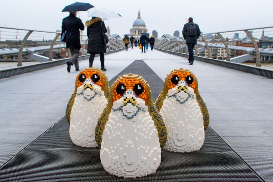 EDITORIAL USE ONLY Three ÔPorgsÕ, the latest character to join the Star Wars universe, appear in Millennium Bridge London to launch the latest LEGO product range ahead of Christmas. PRESS ASSOCIATION Photo. Issue date: Tuesday December 19, 2017. Photo credit should read: Anthony Upton/PA Wire