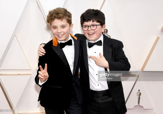 HOLLYWOOD, CALIFORNIA - FEBRUARY 09: (L-R) Roman Davis Griffin and Archie Yates attend the 92nd Annual Academy Awards at Hollywood and Highland on February 09, 2020 in Hollywood, California. (Photo by Kevin Mazur/Getty Images)